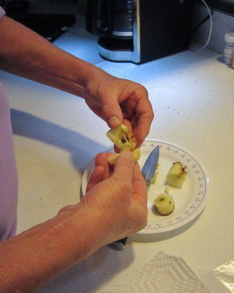 Tách lấy hạt táo từ những quả táo đã sử dụng